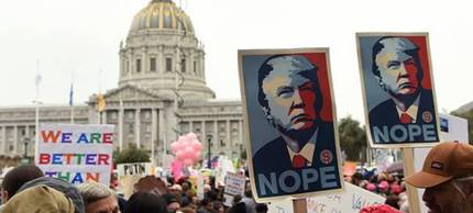 Anti-Trump protest in San Francisco. (photo: Andy Uhler/NPR)